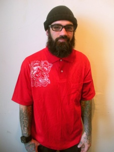White hannya on red polo large