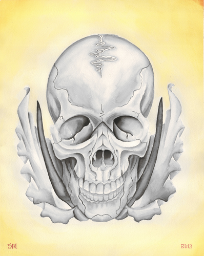 Skull and black dragon lilies