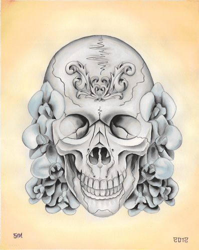 Skull and orchid